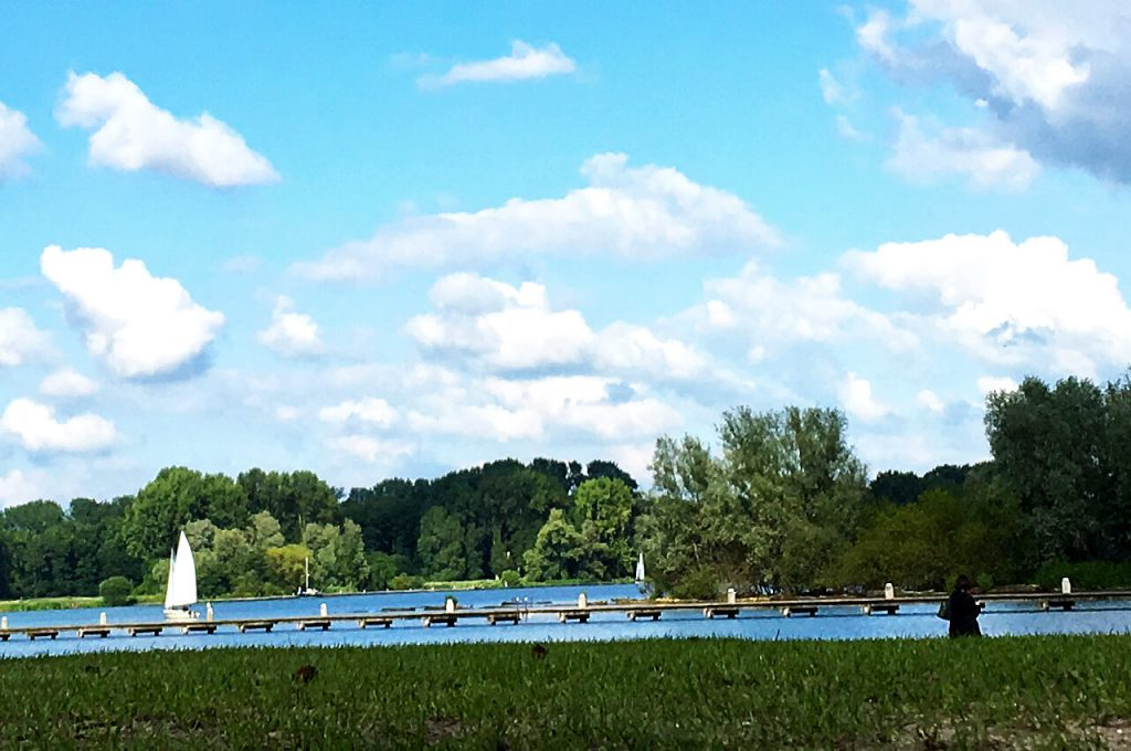 Kralingse Plas met boot op de achtergrond
