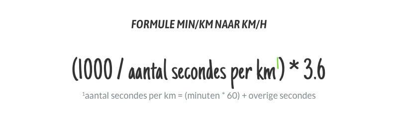 de formule min/km naar km/h