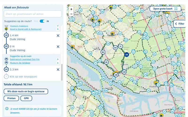 Maak een hardlooproute a.d.h.v. fietsknooppunten van de ANWB