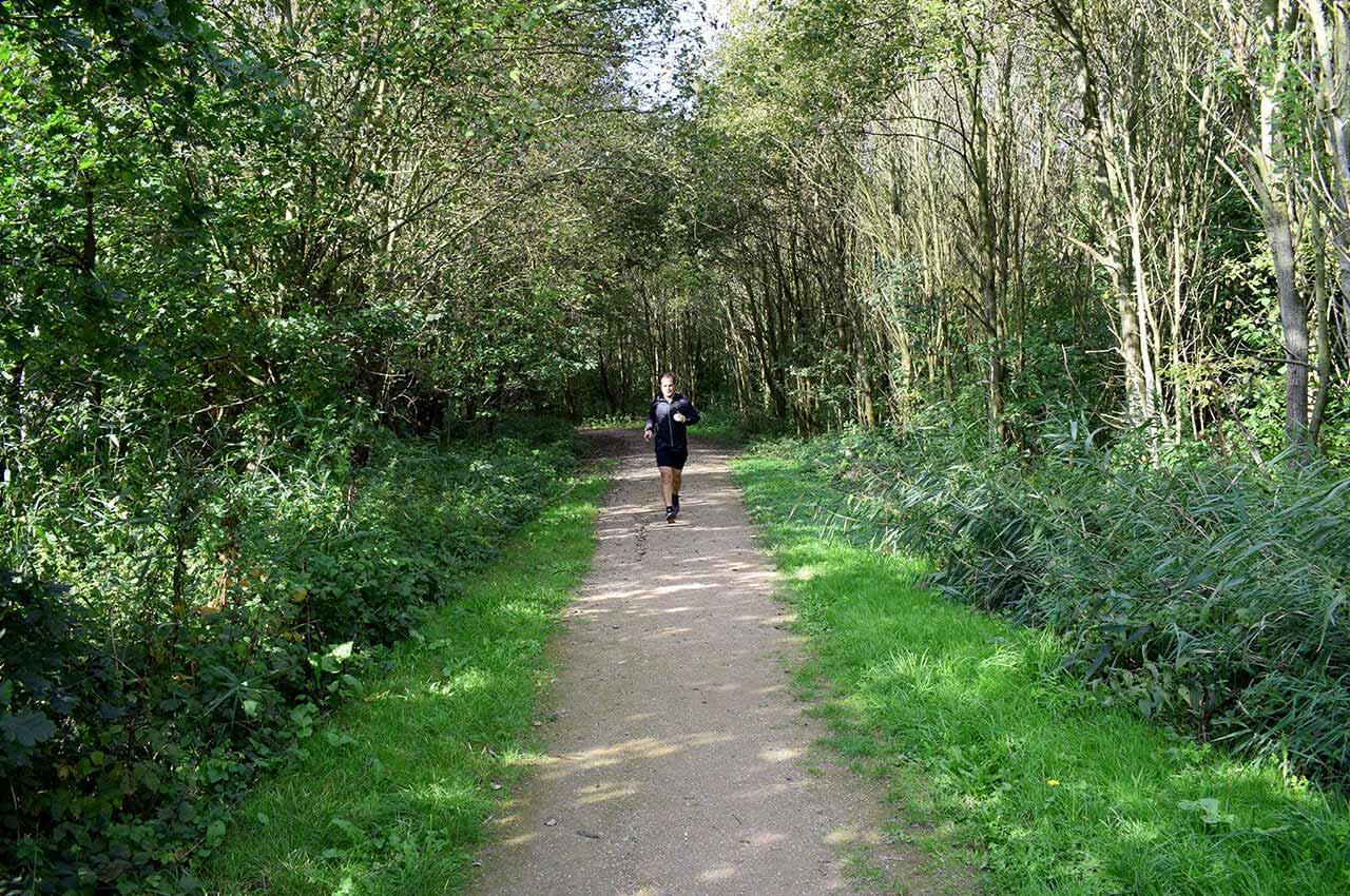 Hardlopen op een bospad, bezig met intensieve intervaltrainingen