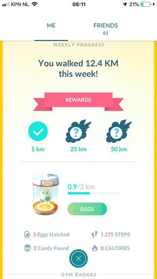 Pokemon go spelen screenshot met adventure sync