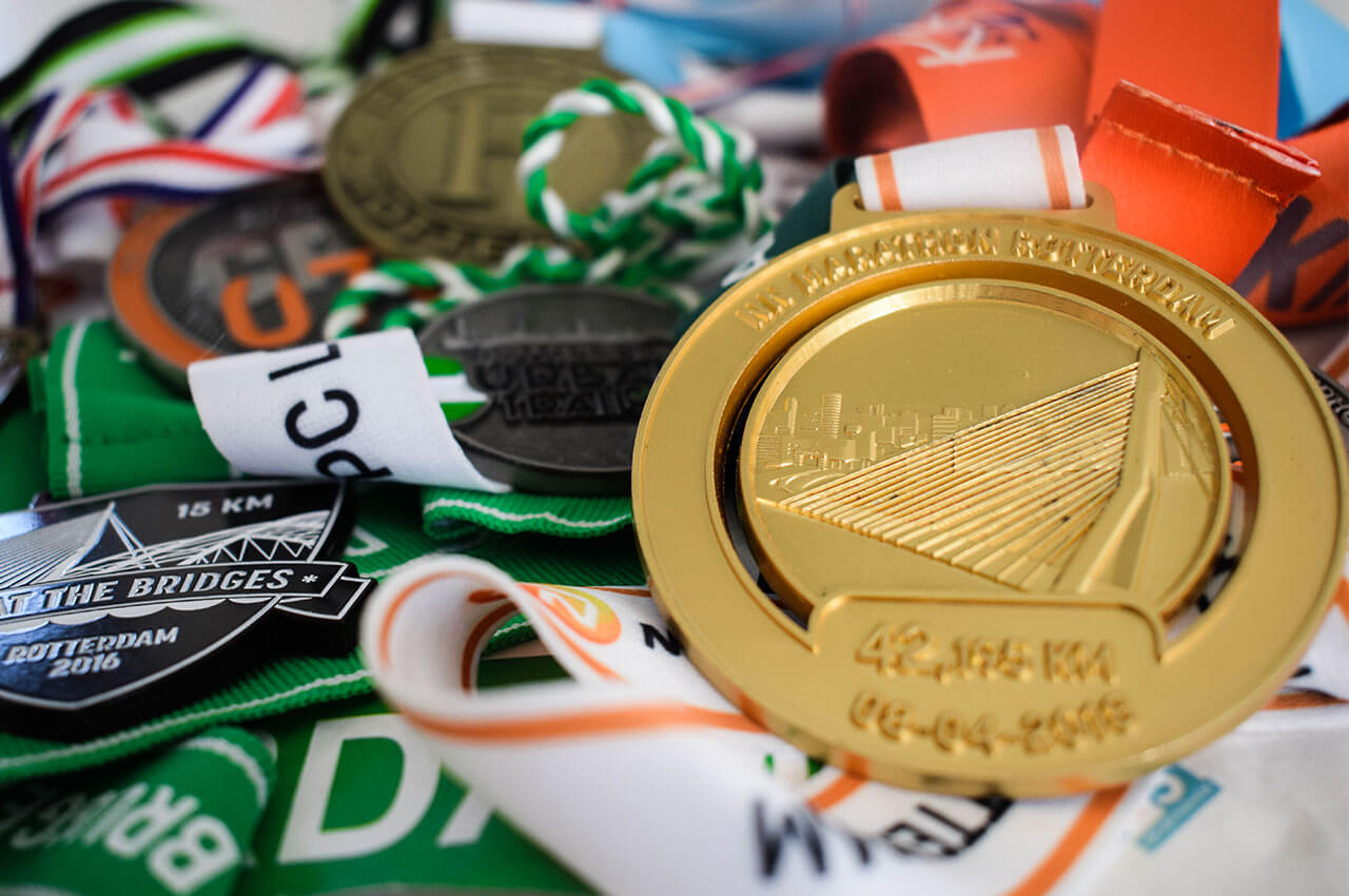 Medailles van alle uitgelopen hardloopwedstrijden