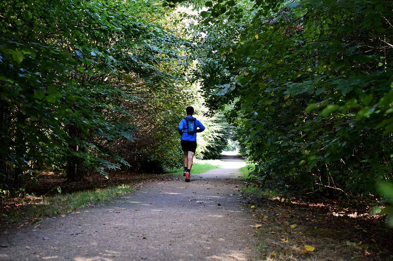 Het lopen van trail runs over bospadjes
