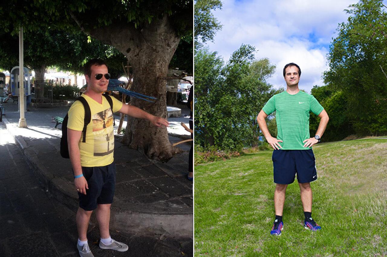 Voor en na foto met 20 kilo verschil